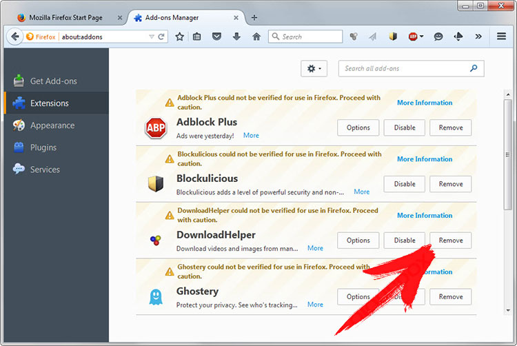 firefox-extensions Hsearchsmart.co Redirect