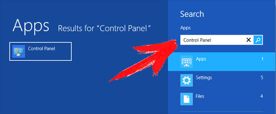 win8-control-panel-search Chrome Redirect Virus